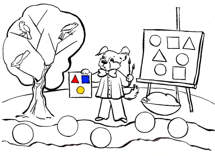 Щенок рисует красками