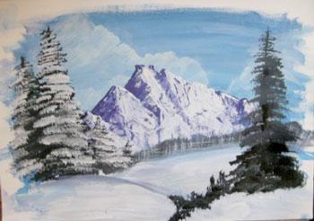 Рисуем снег красками