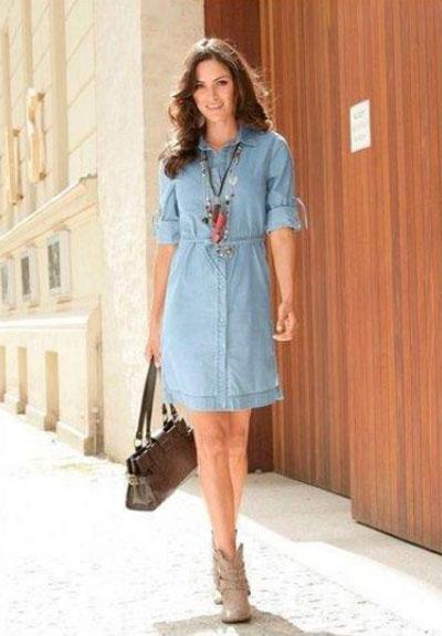 Платье-рубашка и сумка