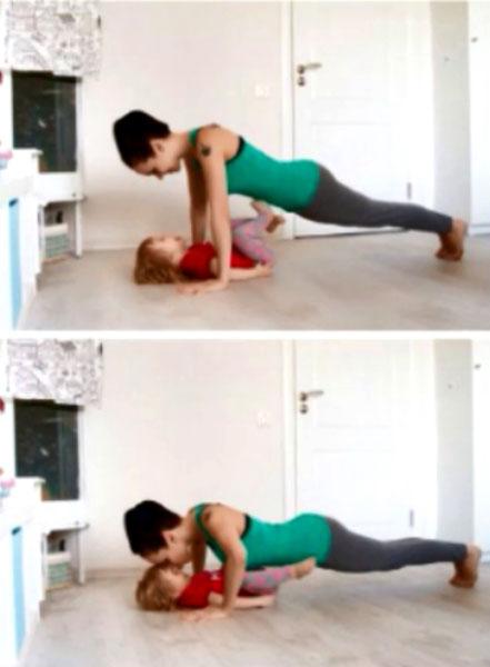 Отжимания - упражнение с ребенком